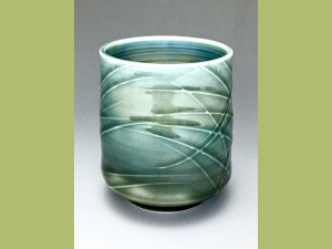 Blue and Gray Slip Trailed Cup