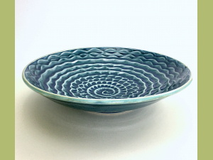 Nautilus Porcelain Slip Serving Bowl